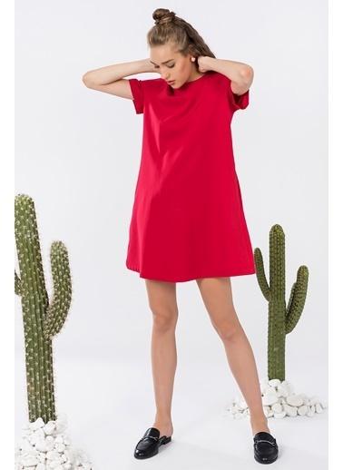 İroni Kısa Kollu Mini Elbise Kırmızı